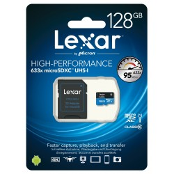 Micro SD HC 128GB 633x LEXAR Class 10 (avec adaptateur)