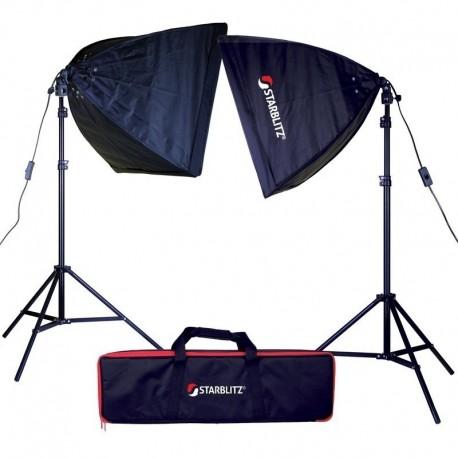 Kit eclairage continu 2x60W + sac transport + pieds + boite lumière