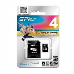 Carte Micro SDHC Silicon Power 4 GB avec adaptateur Class 10