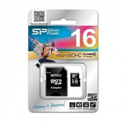 Micro SDHC Silicon Power 16 GB avec adaptateur Class 10